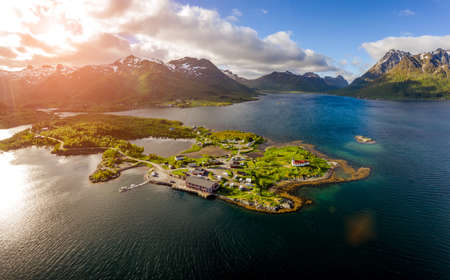 Beautiful Nature Norway natural landscape. Aerial view of the campsite to relax. Family vacation travel, holiday trip in motorhome RV. Standard-Bild