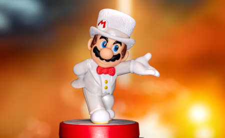MOSCOW, RUSSIA - August 22, 2020: Super Mario Bros figure character. Super Mario is a Japanese platform video game series and media franchise created by Nintendo and featuring their mascot, Mario.