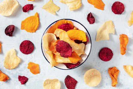 Vegetable chips, shot from the top, a variety of fruit and vegetable crisps