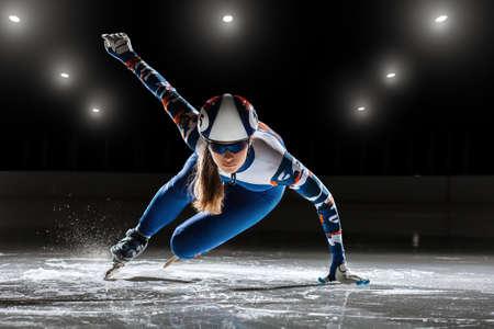 Korte track. atleet op ijs Stockfoto