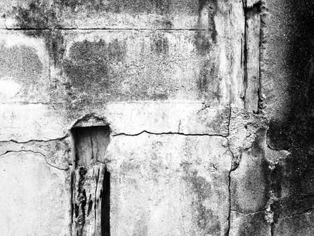 plaster board: Grunge wall of the old house B&W. Textured background Stock Photo