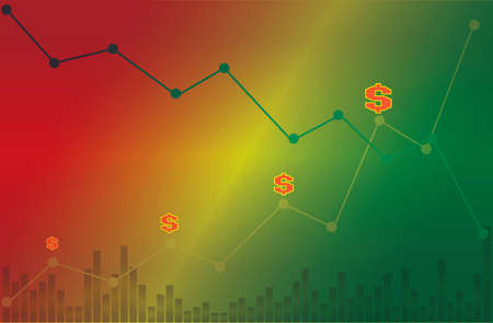 Dollar symbol with descending and  ascending line graph with volume on green yellow and red background
