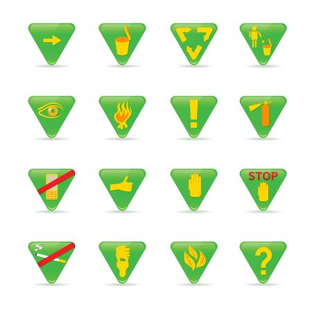 ecology Icon set Green triangles with yellow images Vector