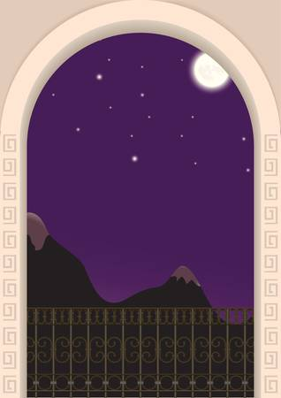 eventide: view from the balcony on a moonlit night and mountains Illustration