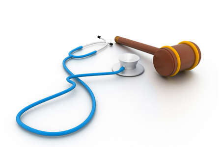 law report: Stethoscope and gavel isolated on white background.
