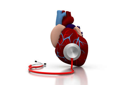 Stethoscope on a heart Stock Photo - 9947360