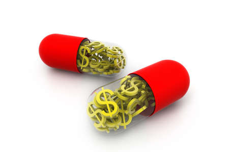 gold dollar inside the pill Stock Photo