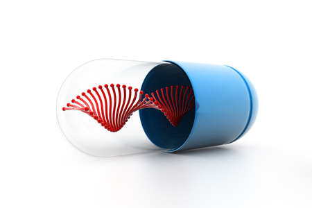 3d illustration of Dna inside the capsule Stock Illustration - 9974514