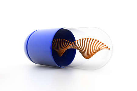 blue pills: 3d illustration of Dna inside the capsule Stock Photo