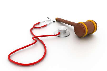 Stethoscope and gavel isolated on white background. photo