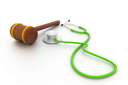 malpractice: Stethoscope and gavel isolated on white background.