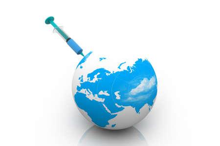 vaccinations: Globe and syringe. Stock Photo