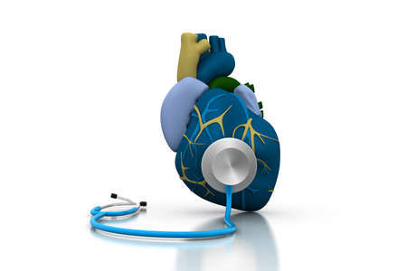 Stethoscope on a heart photo