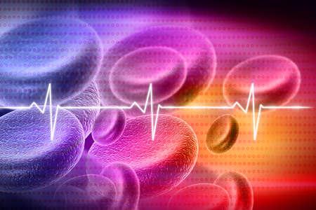 Digital illustration of blood cell on medical background illustration