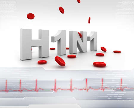 h1n1 vaccinations: Hini symbol with blood cell in medical background Stock Photo
