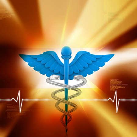 insignias: Ilustración digital del símbolo médico en el fondo abstracto