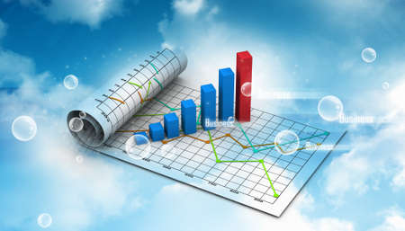 Business graph with chart in abstract background photo