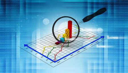 스프레드 시트: 금융 그래프와 돋보기 스톡 사진