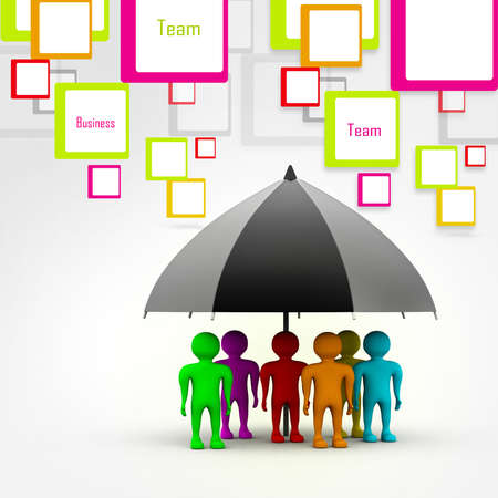 wet shirt: team standing with a black umbrella in abstract background Stock Photo
