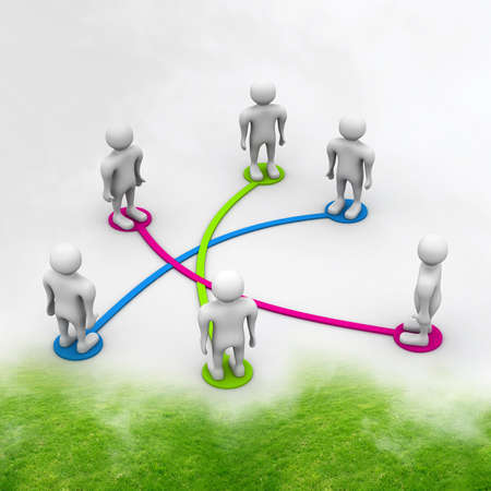 organised group: Business network in abstract background