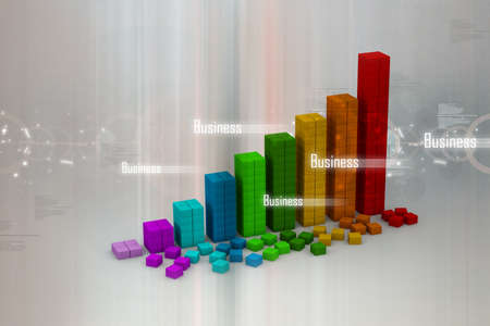 3d graph showing rise in profits or earnings Stock Photo - 10994870