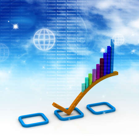 3d Business graph in abstract background Stock Photo - 10994887