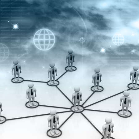 co operation: Business network in abstract background