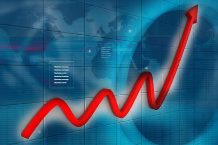 increase diagram: 3d financial graph in business background