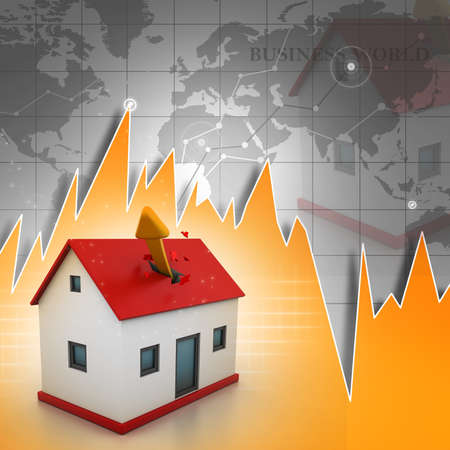 Growing home sales in abstract background photo