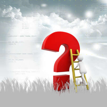Man Climbing up the Question Mark in abstract background Stock Photo - 10952435