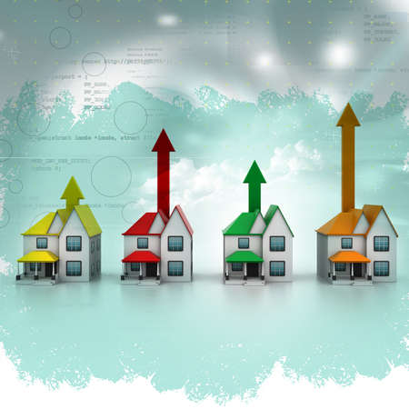 household goods: Growing home sale in abstract  background