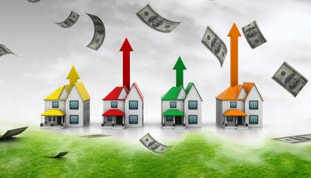 apartment market: Casa cada vez mayor venta en el fondo abstracto Foto de archivo