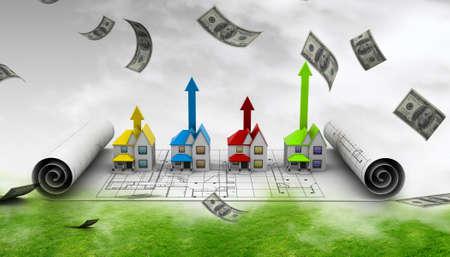 housing: Casa cada vez mayor venta en el fondo abstracto Foto de archivo