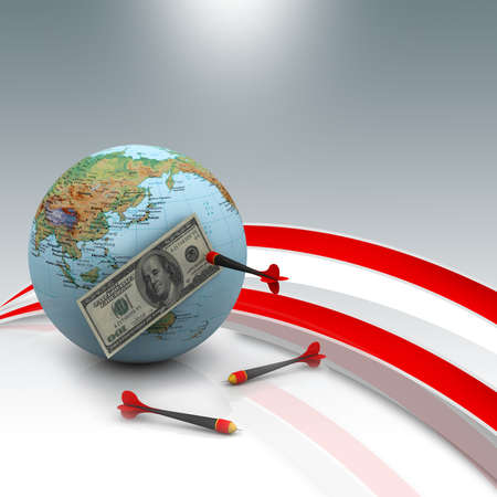 us paper currency: Dollar over the world with darts
