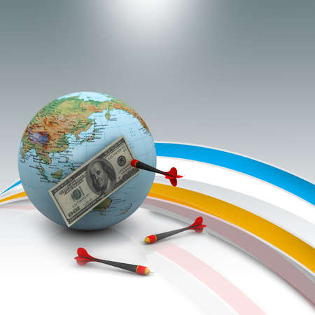 Dollar over the world with darts Stock Photo - 10952427