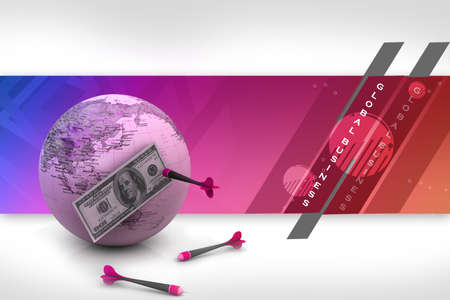 Dollar over the world with darts Stock Photo - 10952402