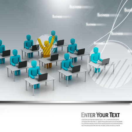 center table: People working office in abstract design Stock Photo
