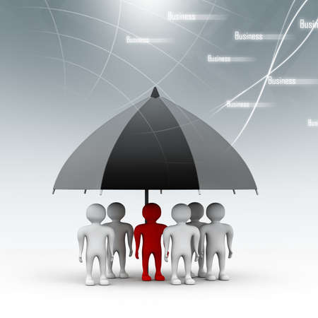 wet shirt: team standing with a black umbrella