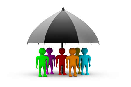 wet shirt: Colorful people standing with a black umbrella