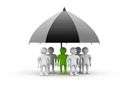 fall protection: team standing with a black umbrella