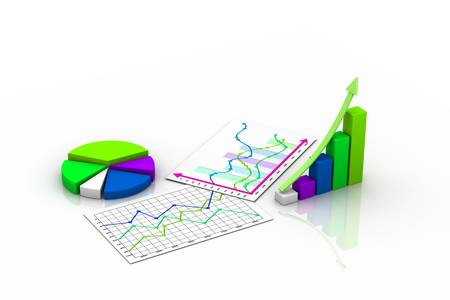 Business graph with chart photo