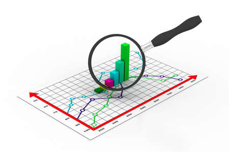 Financial graph and magnifying glass Stock Photo - 11037844