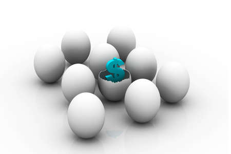 novelty: Investment concept with white egg shells  Stock Photo
