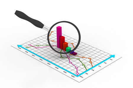 Financial graph and magnifying glass Stock Photo - 11037843