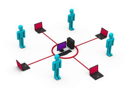Computer network communicating  photo