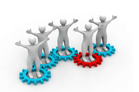 cooperate: Several people inside gears. teamwork and synergy Stock Photo