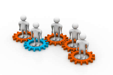 Several people inside gears. teamwork and synergy Stock Photo