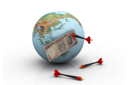 indian currency: Dollar over the world with darts Indian money over the world with darts Stock Photo