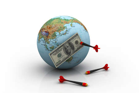 us currency: Dollar over the world with darts