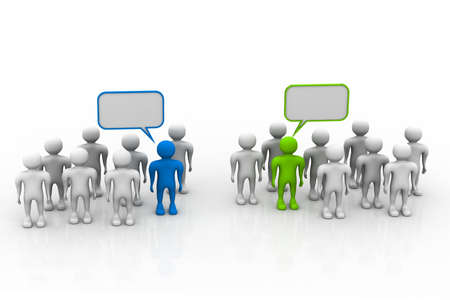 organised group: Social networking people with speech bubbles